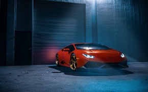 Picture Color, Lamborghini, LP610-4, Smoke, Ligth, Orange, White, Supercar, Front, Wheels, Huracan
