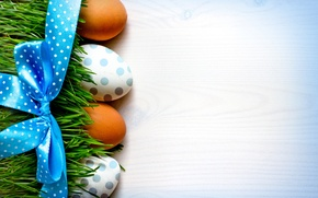 Picture grass, background, holiday, eggs, Easter, tape, bow, Easter