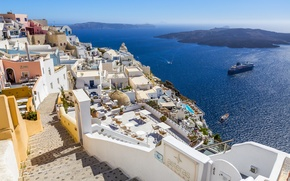 Picture sea, the sun, coast, ship, home, Greece, horizon, Bay, Santorini