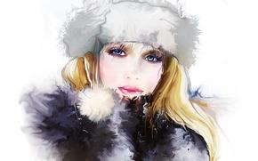 Picture look, eyelashes, winter, Tatiana Nikitina, face, hat, hair, girl, eyes
