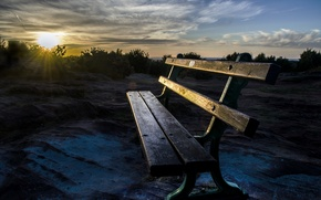 Picture light, morning, bench