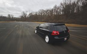 Picture road, black, speed, volkswagen, black, Golf, golf, Volkswagen, MK5