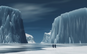 Picture mountains, penguins, Ice
