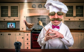 Picture mustache, kitchen, eyebrows, cook