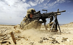 Picture sand, dust, soldiers, shooting, sleeve, soldier, dust, sand, us army, firing, US army, machine gun, …