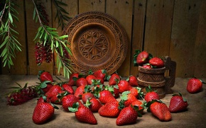 Wallpaper berries, strawberry, plate, mug, still life