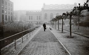 Picture city, fog, elderly