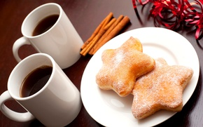 Picture winter, stars, coffee, food, sticks, cookies, Cup, dishes, stars, cinnamon, dessert, cakes