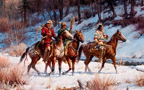 Picture winter, forest, landscape, stream, horse, picture, the Indians, watch, Martin Grelle, On A Winter Quest