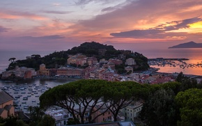 Picture sea, sunset, coast, building, Italy, panorama, Bay, Italy, The Ligurian sea, Cape, Italian Riviera, Liguria, ...