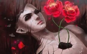 Picture girl, flowers, cracked, surrealism, doll, broken, art
