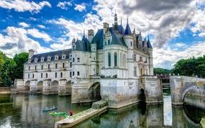 Picture the sky, water, clouds, bridge, castle, France, channel, ditch, Chateau