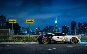 Picture Bugatti, Veyron, New York, NYC, Side, Supersport, Nigth, Pur Blanc