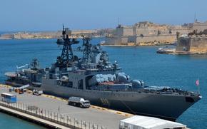 Wallpaper Malta, anti-submarine, large, large anti-submarine ship, visit, Severomorsk, ship, Navy