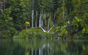 Picture forest, water, trees, lake, waterfall, Croatia, Croatia, Plitvice Lakes National Park, National Park Plitvice lakes
