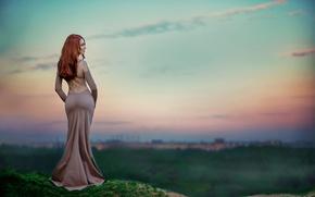 Picture figure, dress, form, redhead, waist