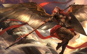Picture wings, warrior, spear, shield, Heroes of Newerth, Valkyrie, Adkarna Valkyrie