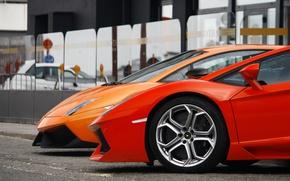 Picture orange, red, lights, Lamborghini, wheel, red, disk, gallardo, orange, rim, aventador, Lamborghini, aventador, mirror, Gallardo