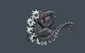 Picture monster, dinosaur, tail, Godzilla, Godzilla, anchor