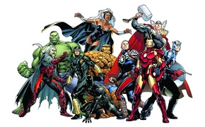 Picture Dracula, Iron Man, The Thing, background, Storm, Marvel Comics, Cyclops, Hulk, Captain America, Black Panther, ...