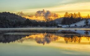 Picture twilight, sunset, winter, lake, snow, evening, dusk, frozen, reflection, Norway, freeze, mirror, Hordaland, boat house, …