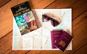 Picture map, glasses, New York, passport