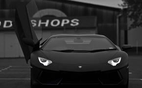 Picture black, supercar, lamborghini, aventador, lp700-4