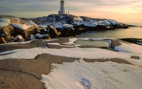 Wallpaper Lighthouse, people, snow, stones