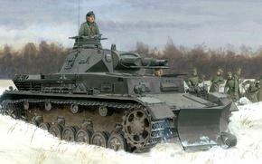 Picture winter, snow, figure, Germany, art, bulldozer, A IV, Panzerkampfwagen IV, T‑IV, Ausf.B, German medium tank, …