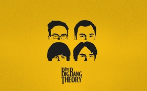 Wallpaper head, the series, The Big Bang Theory, yellow, background