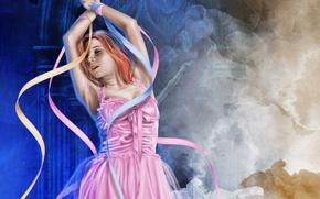 Picture girl, face, hair, hands, art, ballerina, ribbons, pink dress