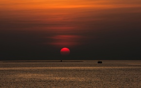 Picture sea, sunset, The sun