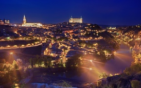 Picture night, lights, river, castle, tower, home, Spain, Toledo