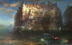 Picture the city, lake, island, sailboat, dragons, art