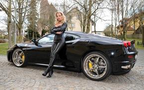 Picture Girl, Ferrari, Car, Leather, Blode