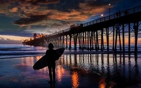 Picture sea, wave, pierce, surfer