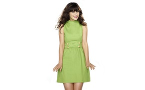 Picture smile, actress, green, Zooey Deschanel, Zooey Deschanel