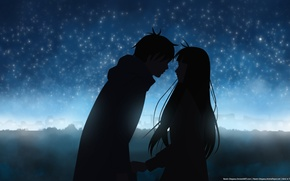 Wallpaper two, silhouettes, kimi ni todoke