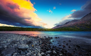 Wallpaper lake, mountains, clouds, the sky, stones, sunset