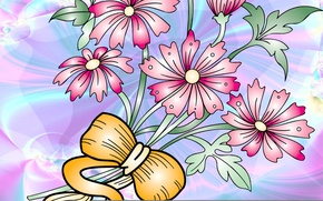 Picture flowers, vector, tape, postcard