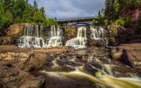 Picture bridge, river, waterfall, cascade, Mn, Minnesota, Gooseberry Falls, Gooseberry Falls State Park