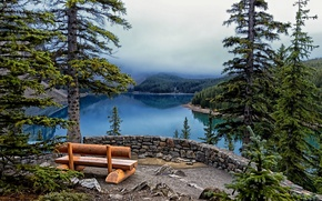 Picture trees, bench, lake, ate, Banff National Park, Lake Moraine