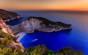 Picture sea, beach, island, Greece, Ionian Islands, Navagio
