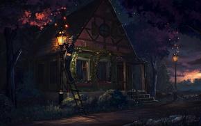 Picture sunset, house, tree, people, art, ladder, lantern