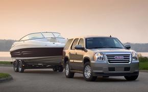 Picture boat, the trailer, GMC, Yukon