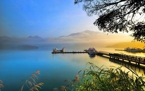 Wallpaper boats, lake, haze, mountains, pier, fog, reed