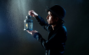 Picture background, lamp, guy