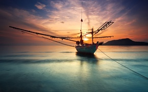 Picture sea, the sky, water, the sun, clouds, mountains, surface, the ocean, boat, landscapes, silence, ship, ...