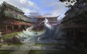 Wallpaper spirit, warrior, temple, East, ruins, Art, spear, elemental, air