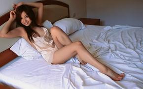 Wallpaper bed, asian, smile